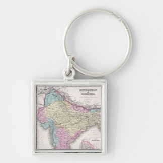 Vintage Map of India (1855) Silver-Colored Square Keychain