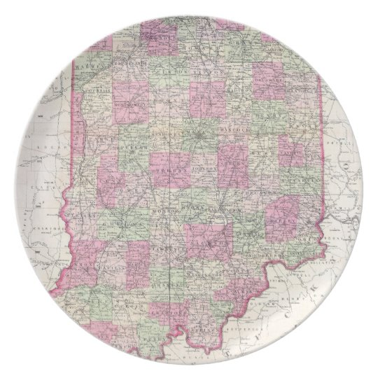 Vintage Map of Indiana (1864) Dinner Plate