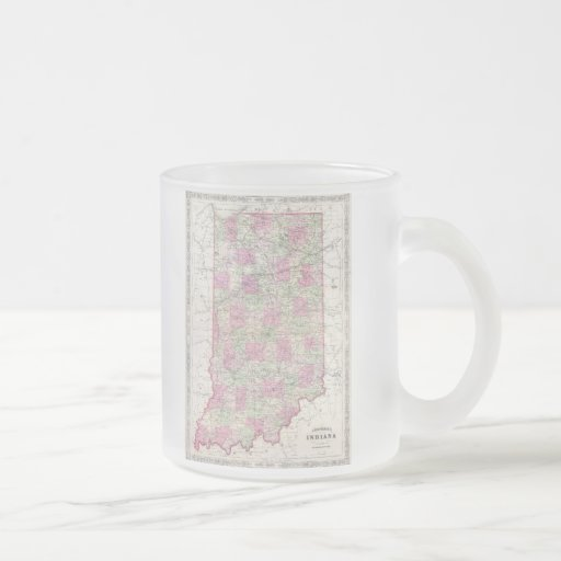 Vintage Map of Indiana (1864) Frosted Glass Coffee Mug