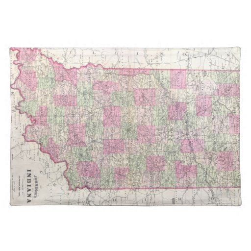 Vintage Map of Indiana (1864) Placemats