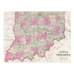 Vintage Map of Indiana (1864) Post Card