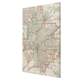 Vintage Map of Indianapolis Indiana (1921) Canvas Print