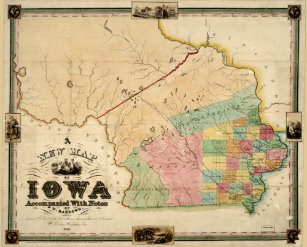 Vintage Iowa Map Art Framed Artwork Zazzle - Vintage iowa map
