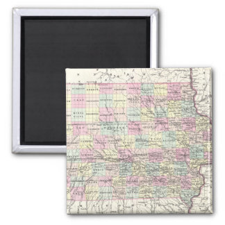 Vintage Map of Iowa (1855) 2 Inch Square Magnet