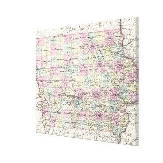 Vintage Map of Iowa (1855) Canvas Print