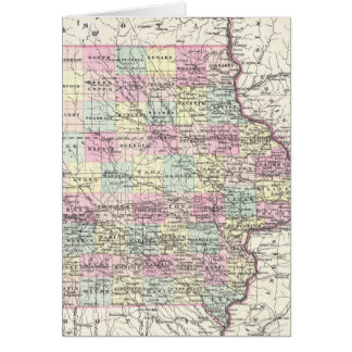 Vintage Map of Iowa (1855) Card