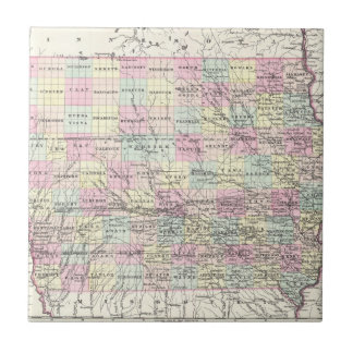 Vintage Map of Iowa (1855) Ceramic Tile