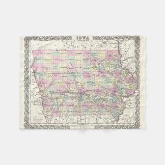 Vintage Map of Iowa (1855) Fleece Blanket