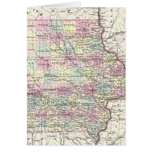 Vintage Map of Iowa (1855) Greeting Cards