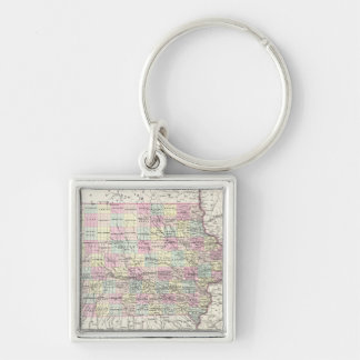 Vintage Map of Iowa (1855) Silver-Colored Square Keychain