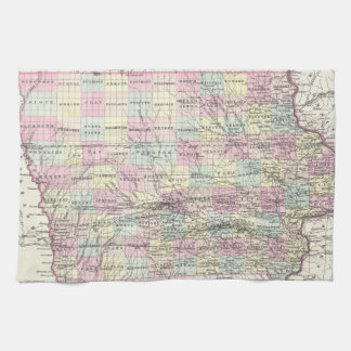 Vintage Map of Iowa (1855) Kitchen Towel