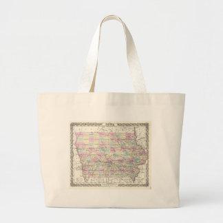 Vintage Map of Iowa (1855) Large Tote Bag