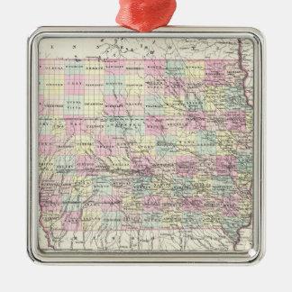 Vintage Map of Iowa (1855) Metal Ornament