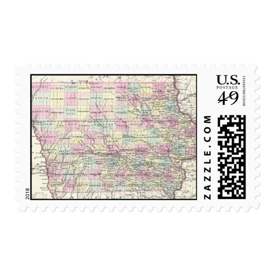 Vintage Map of Iowa (1855) Postage