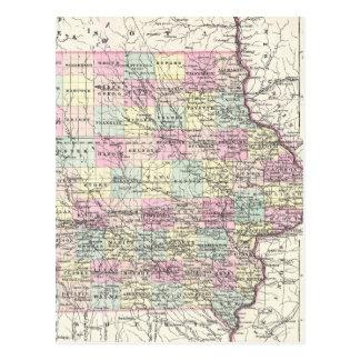 Vintage Map of Iowa (1855) Postcard