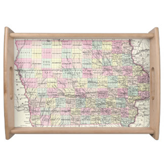 Vintage Map of Iowa (1855) Serving Tray