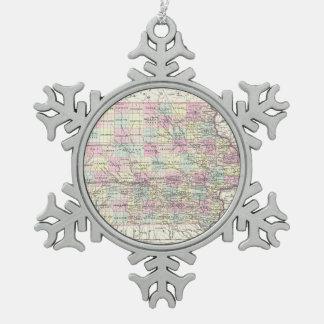 Vintage Map of Iowa (1855) Snowflake Pewter Christmas Ornament