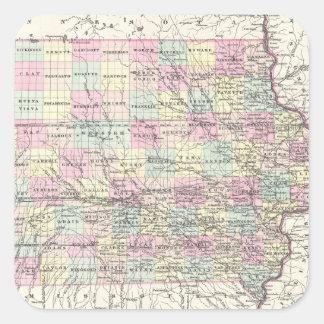 Vintage Map of Iowa (1855) Square Sticker