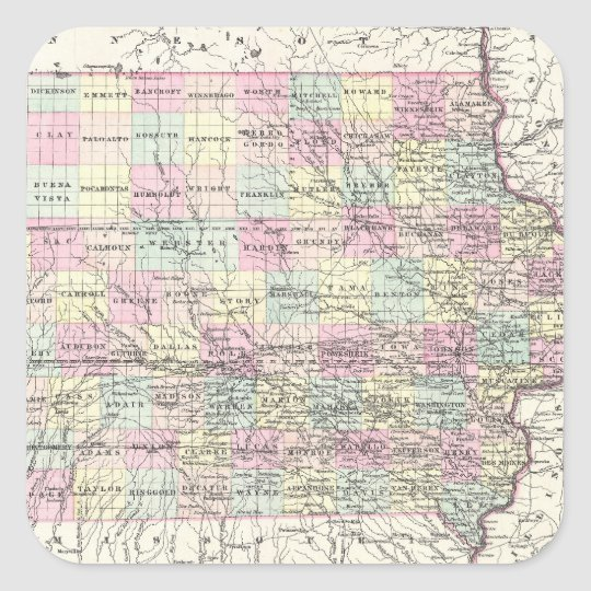 Vintage Map of Iowa (1855) Square Sticker