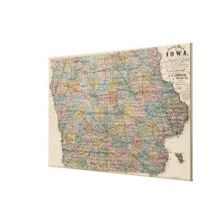 Vintage Map of Iowa (1875) Canvas Print