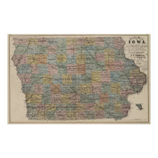 Vintage Map of Iowa (1875) Poster