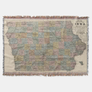 Vintage Map of Iowa (1875) Throw Blanket