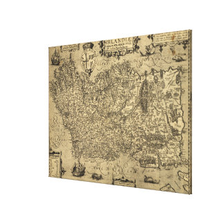 Vintage Map of Ireland (1606) Canvas Print