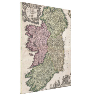 Vintage Map of Ireland (1716) Canvas Print