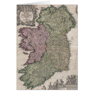 Vintage Map of Ireland (1716) Card