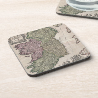 Vintage Map of Ireland (1716) Beverage Coasters