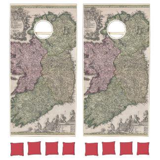 Vintage Map of Ireland (1716) Cornhole Set