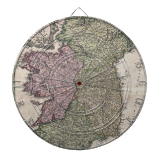 Vintage Map of Ireland (1716) Dartboards