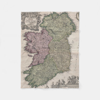 Vintage Map of Ireland (1716) Fleece Blanket