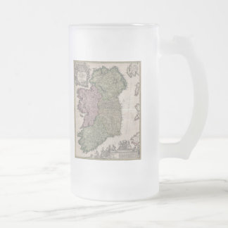Vintage Map of Ireland (1716) Frosted Glass Beer Mug