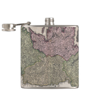 Vintage Map of Ireland (1716) Hip Flask