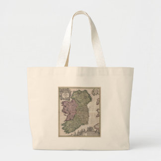 Vintage Map of Ireland (1716) Large Tote Bag