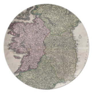 Vintage Map of Ireland (1716) Party Plates