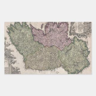 Vintage Map of Ireland (1716) Rectangular Sticker