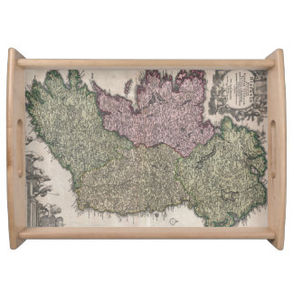 Vintage Map of Ireland (1716) Serving Tray