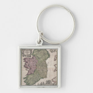 Vintage Map of Ireland (1716) Silver-Colored Square Keychain