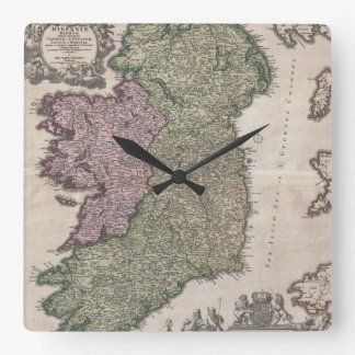 Vintage Map of Ireland (1716) Square Wallclock