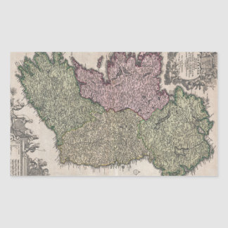 Vintage Map of Ireland (1716) Rectangle Stickers