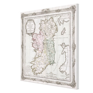 Vintage Map of Ireland (1766) Canvas Print