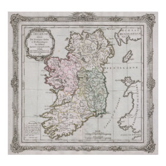 Vintage Map of Ireland (1766) Poster