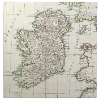 Vintage Map of Ireland (1771) Printed Napkins