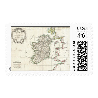 Vintage Map of Ireland 1771 Stamp