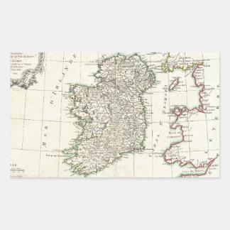 Vintage Map of Ireland (1771) Rectangular Sticker