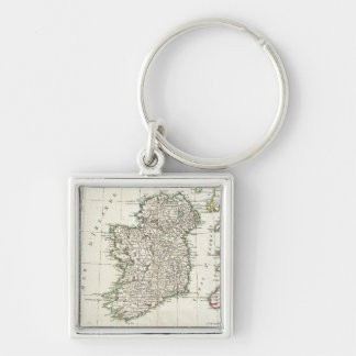 Vintage Map of Ireland (1771) Silver-Colored Square Keychain