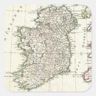 Vintage Map of Ireland (1771) Square Sticker