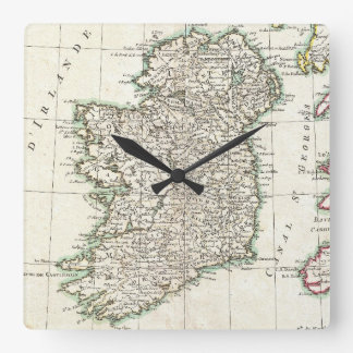 Vintage Map of Ireland (1771) Square Wall Clocks